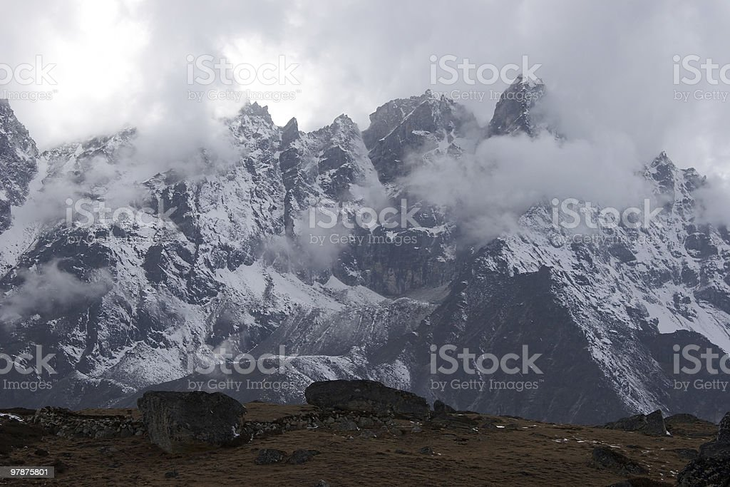 Bad weather in mountains, Himalaya, Nepal royalty-free stock photo
