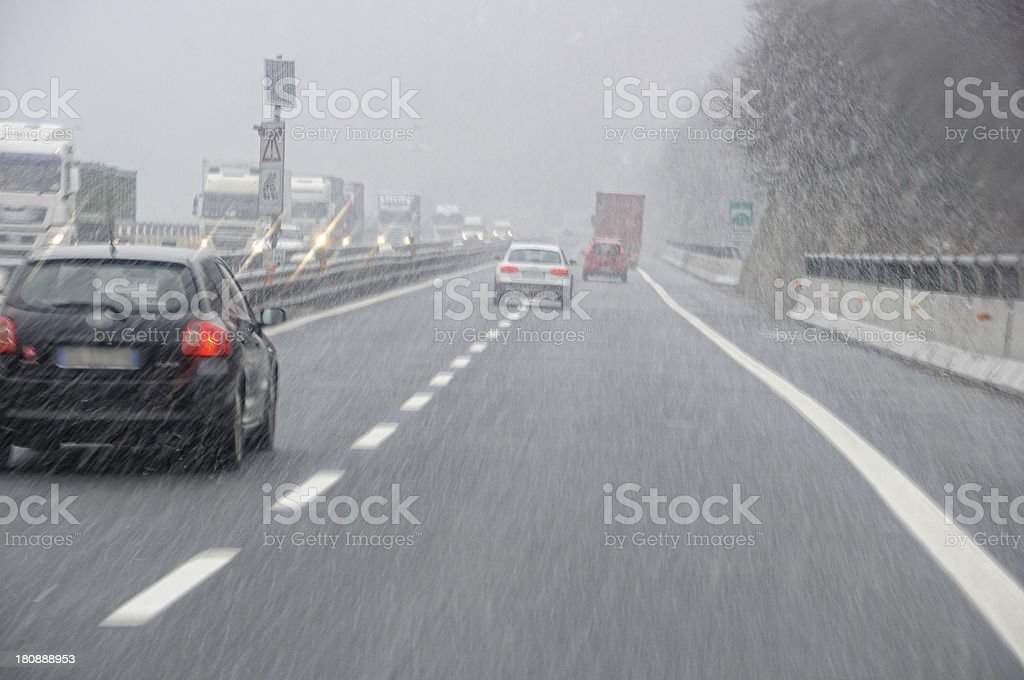 bad weather on the motorway royalty-free stock photo
