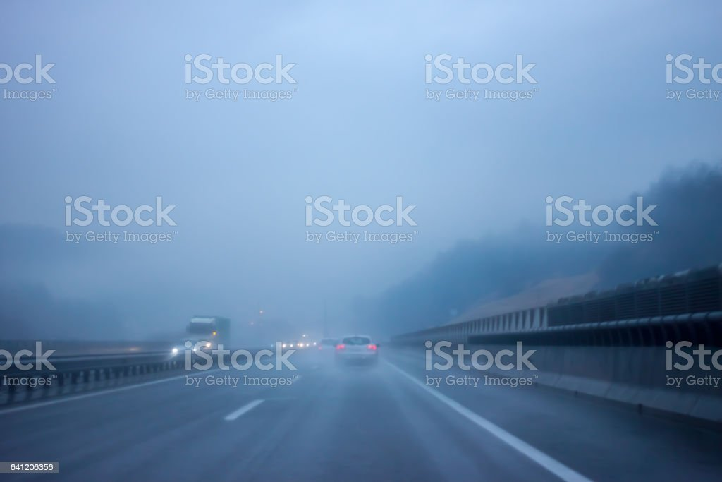 bad weather on the road stock photo