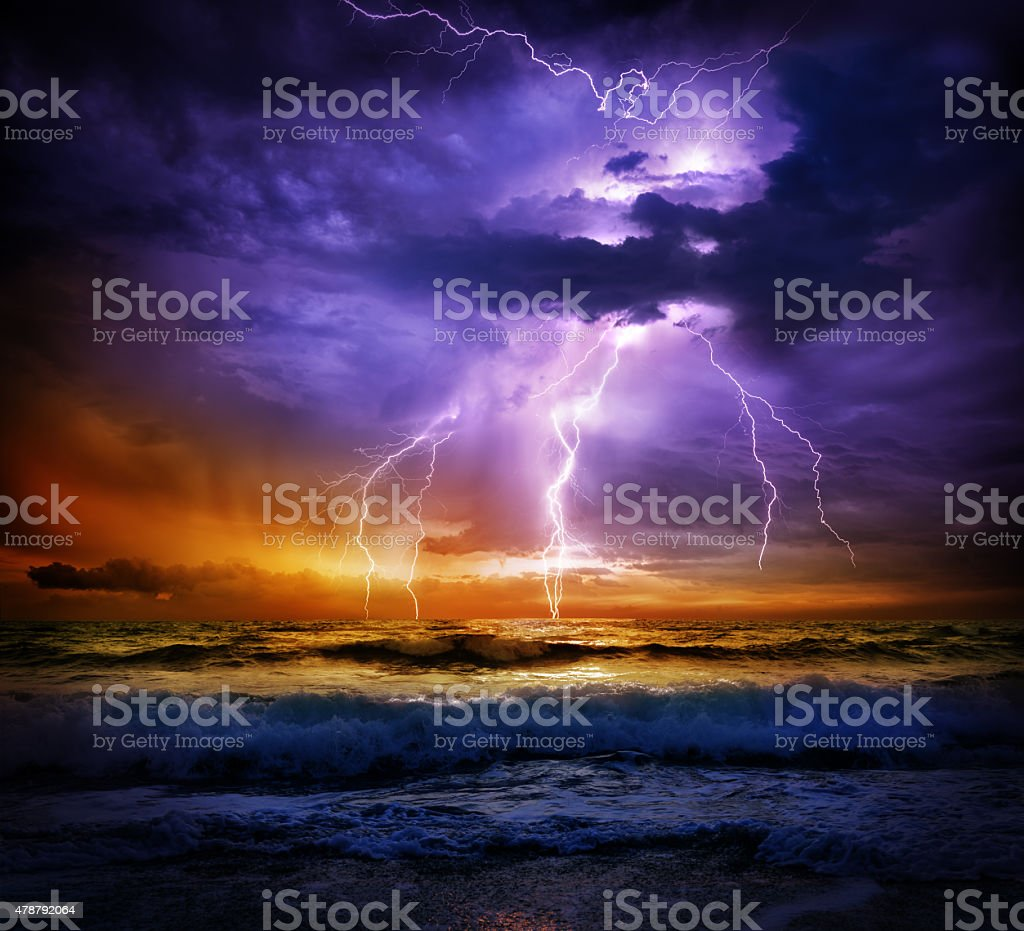 bad weather - storm on the sea stock photo