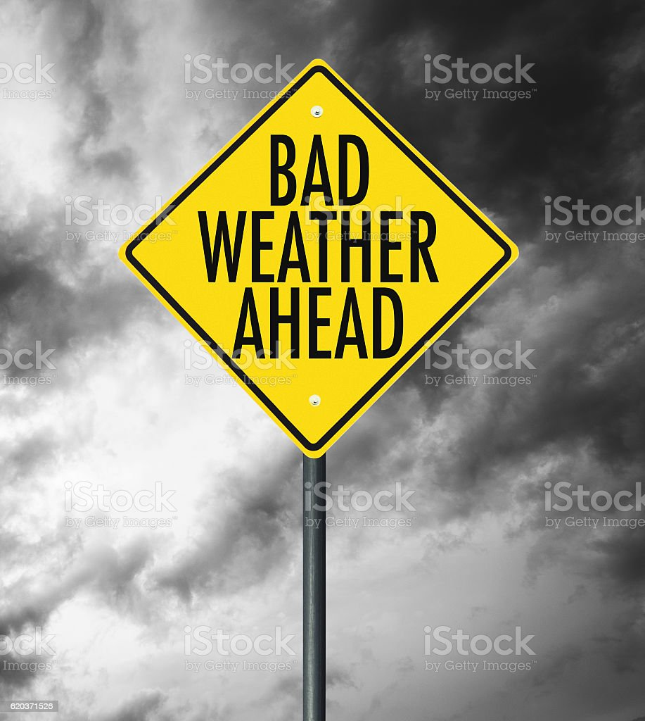bad weather street sign stock photo