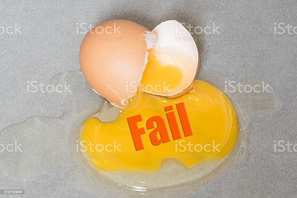 Bad wording on Egg drop crack splattered down stock photo