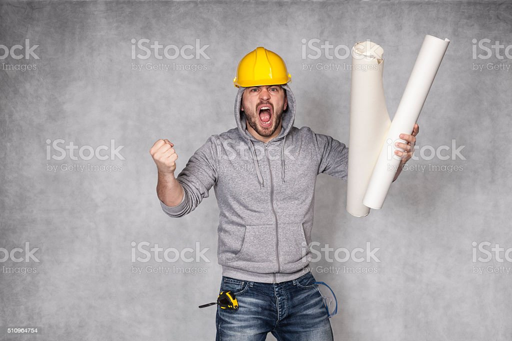 bad worker screaming with stress stock photo