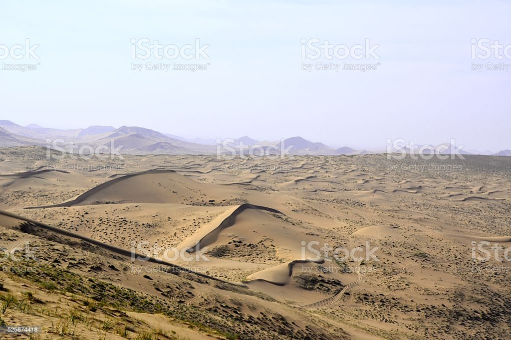 Badain Jaran desert landscape, Inner Mongolia, China stock photo