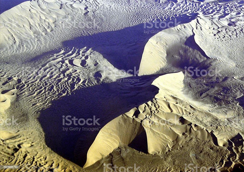Badain Jaran desert sand sea aerial view, Inner Mongolia, China stock photo