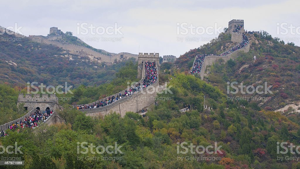 Badaling Great Wall at Weekend in Autumn stock photo