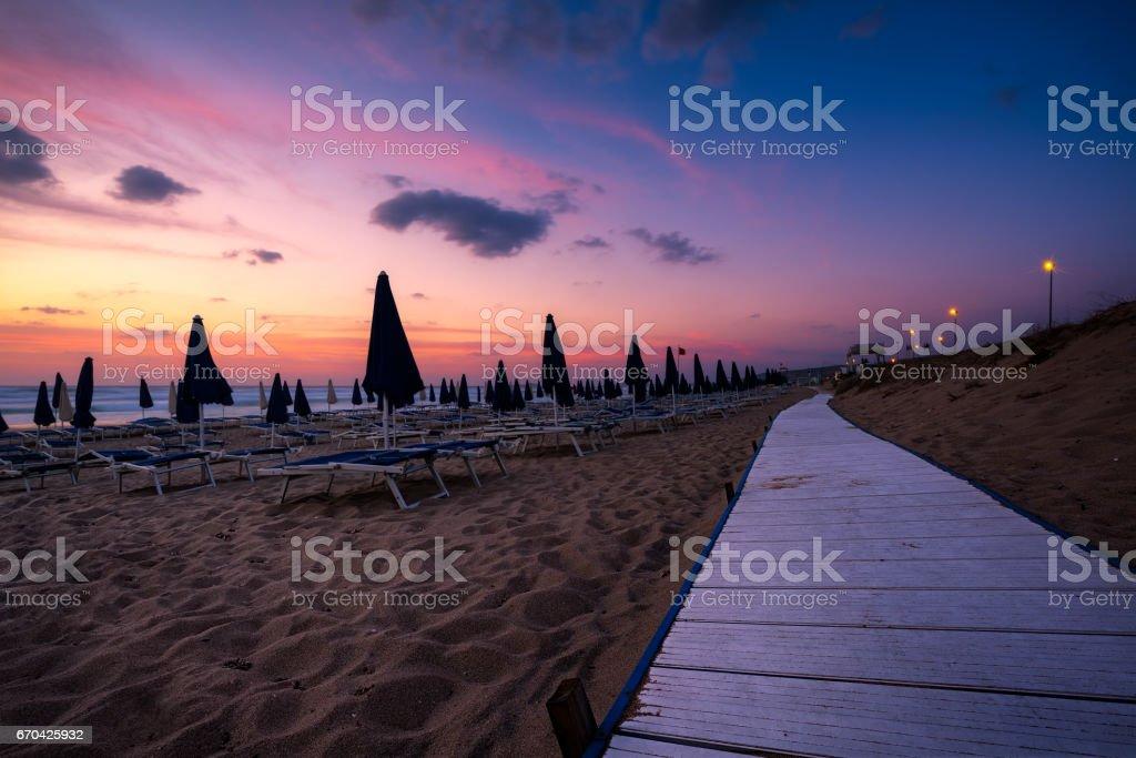 Badesi beach at sunset, Sardinia (Sardegna), Italy stock photo