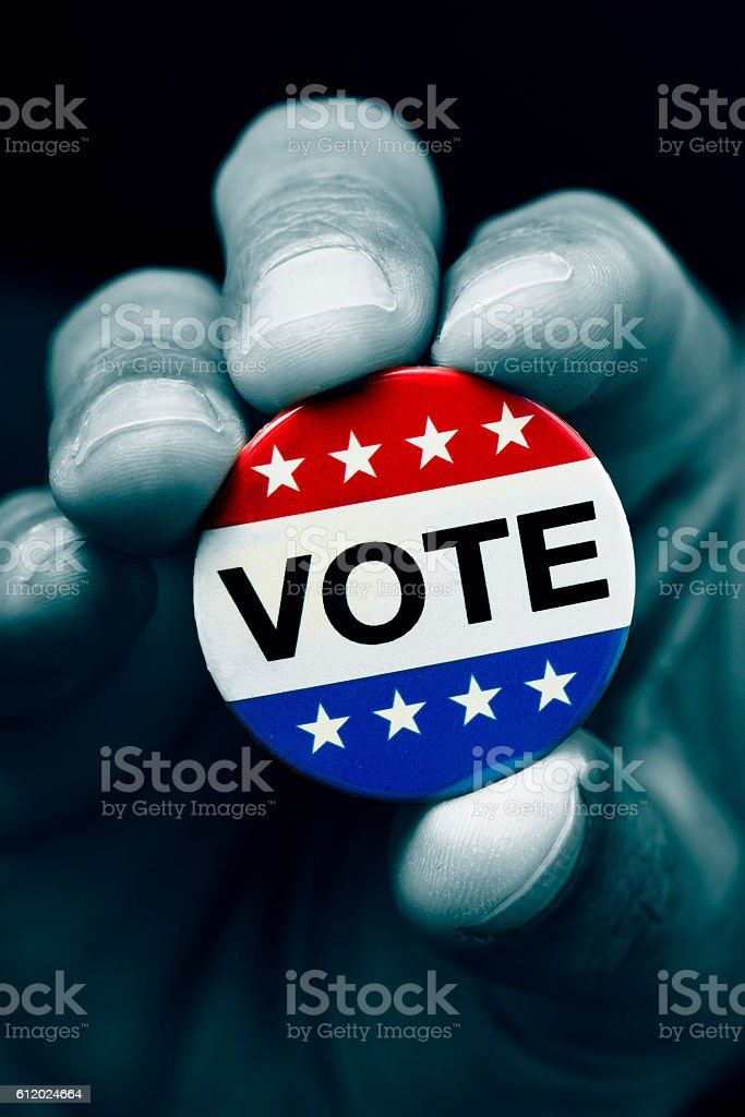 badge for the United States election stock photo