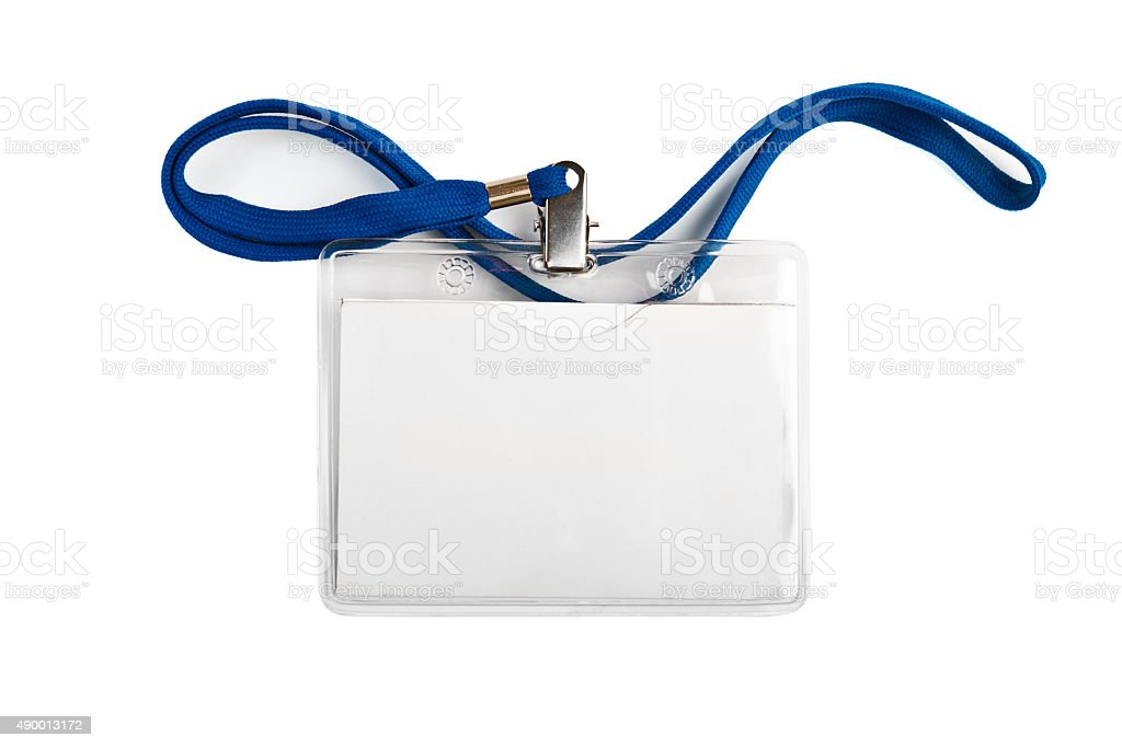 Badge  identification white blank plastic id card stock photo