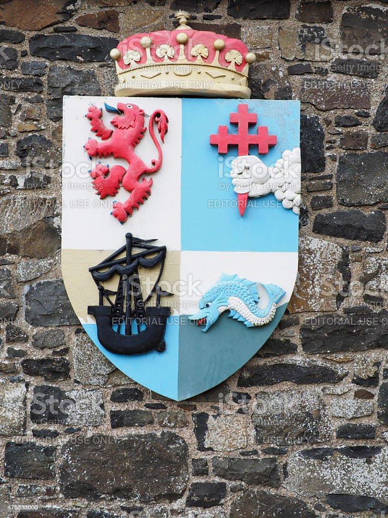 badge of dunlunce castle stock photo