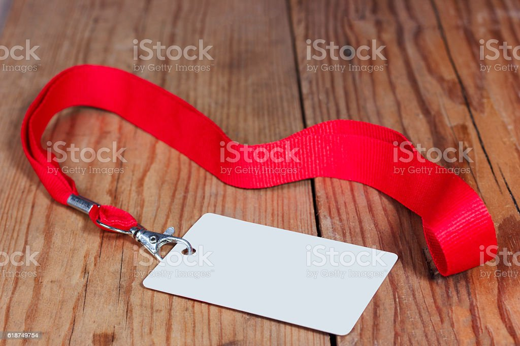 Badge on a wooden background stock photo