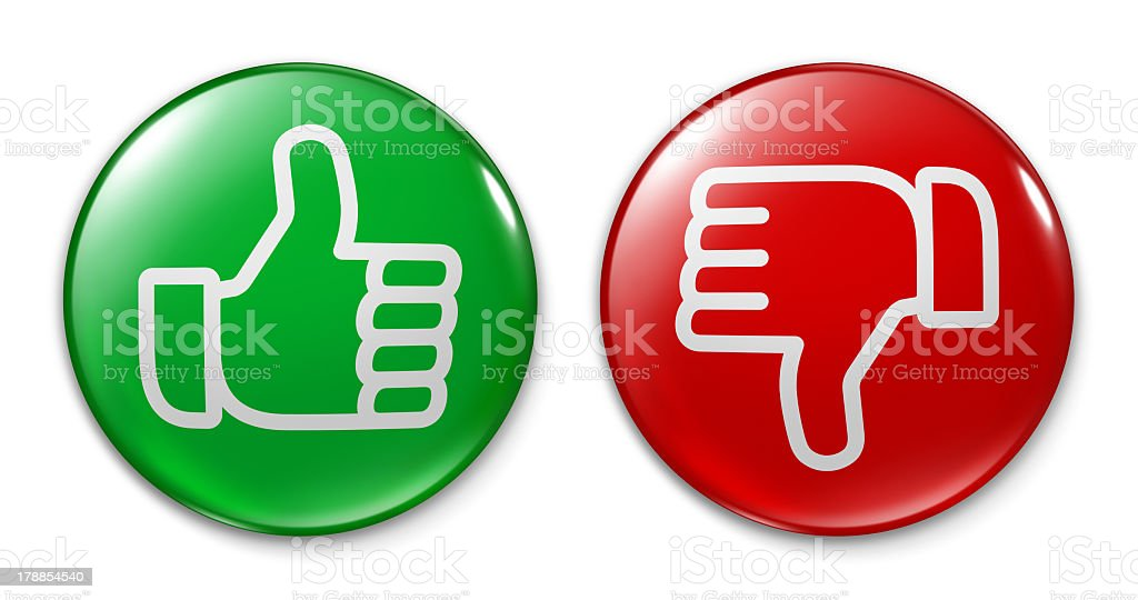 Badge - Thumb Up and Down stock photo