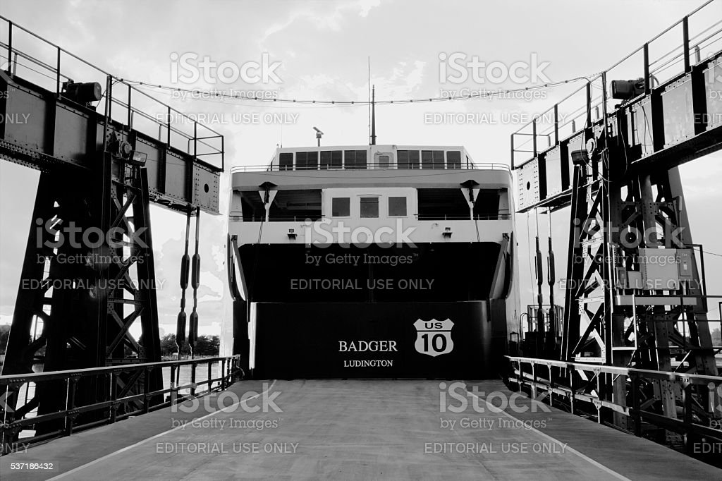 SS Badger Car Ferry At Port In Ludington stock photo