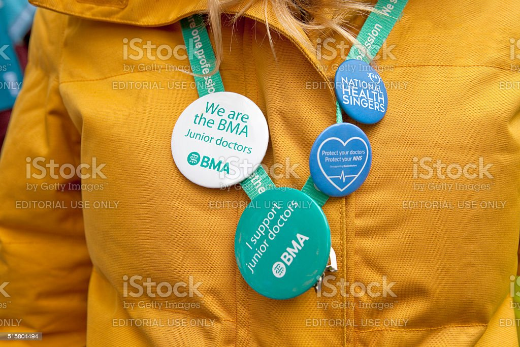 Badges for the Third Junior Doctors' Strike stock photo