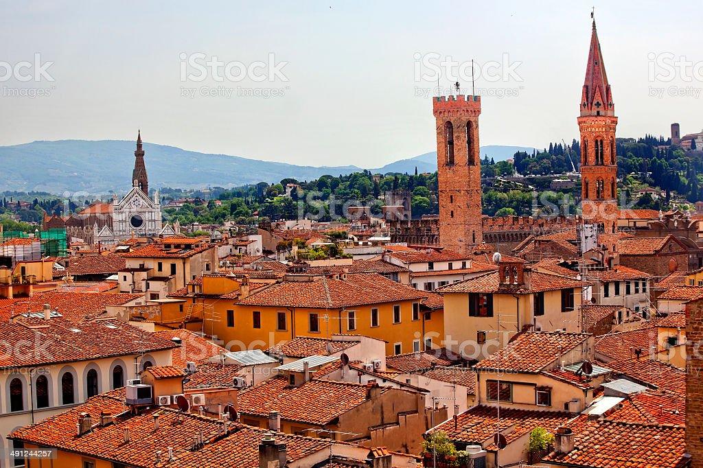 Badia Bargello Basilica Santa Croce Florence Rooftops Italy stock photo