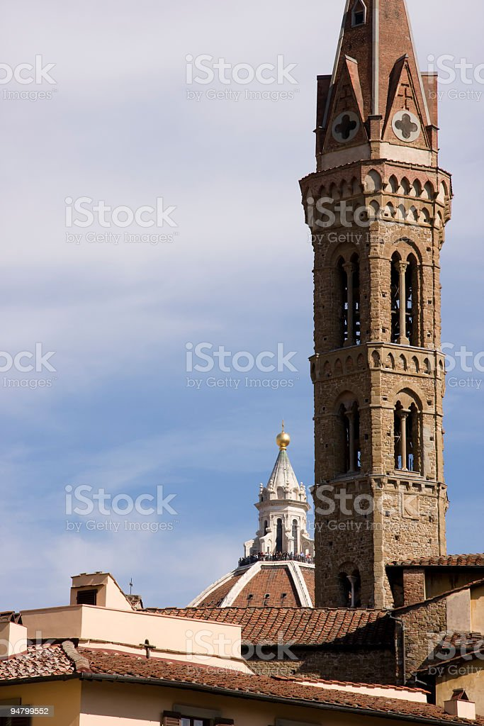 Badia Fiorentina Bell Tower in Firenze, Italy stock photo