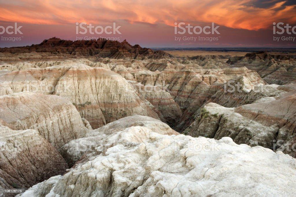 Badlands National Park at Sunset stock photo