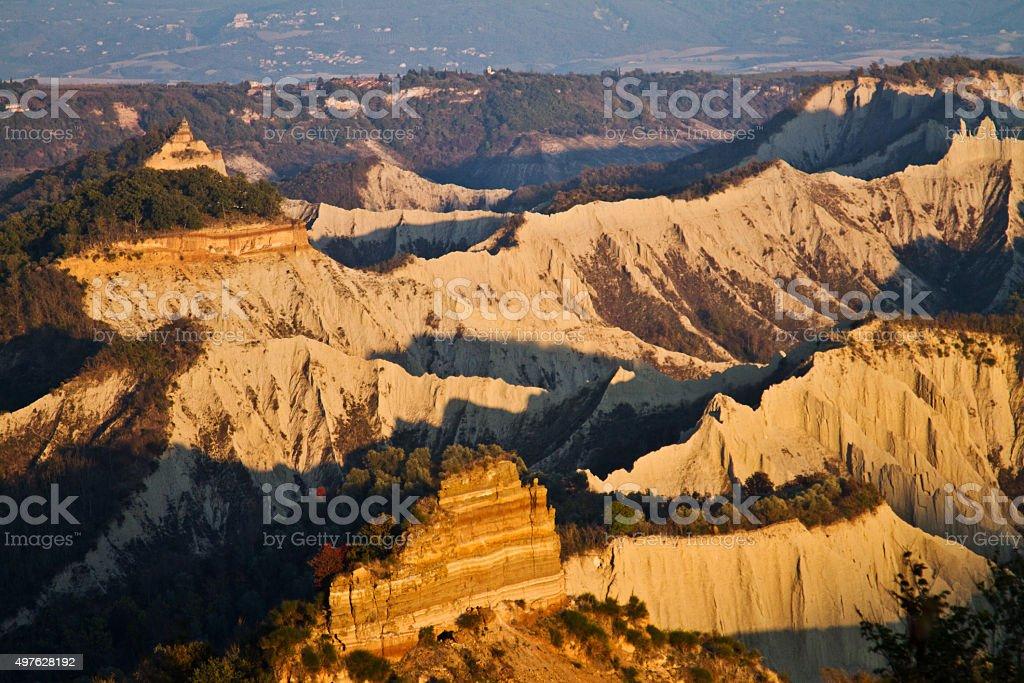 Badlands of Civita di Bagnoregio in Italy stock photo