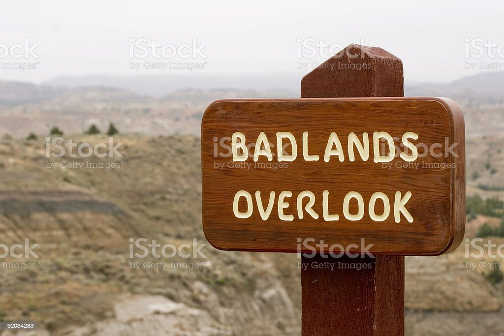 Badlands Overlook Wooden Sign royalty-free stock photo