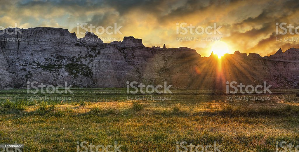 Badlands Prairie Sunrise stock photo