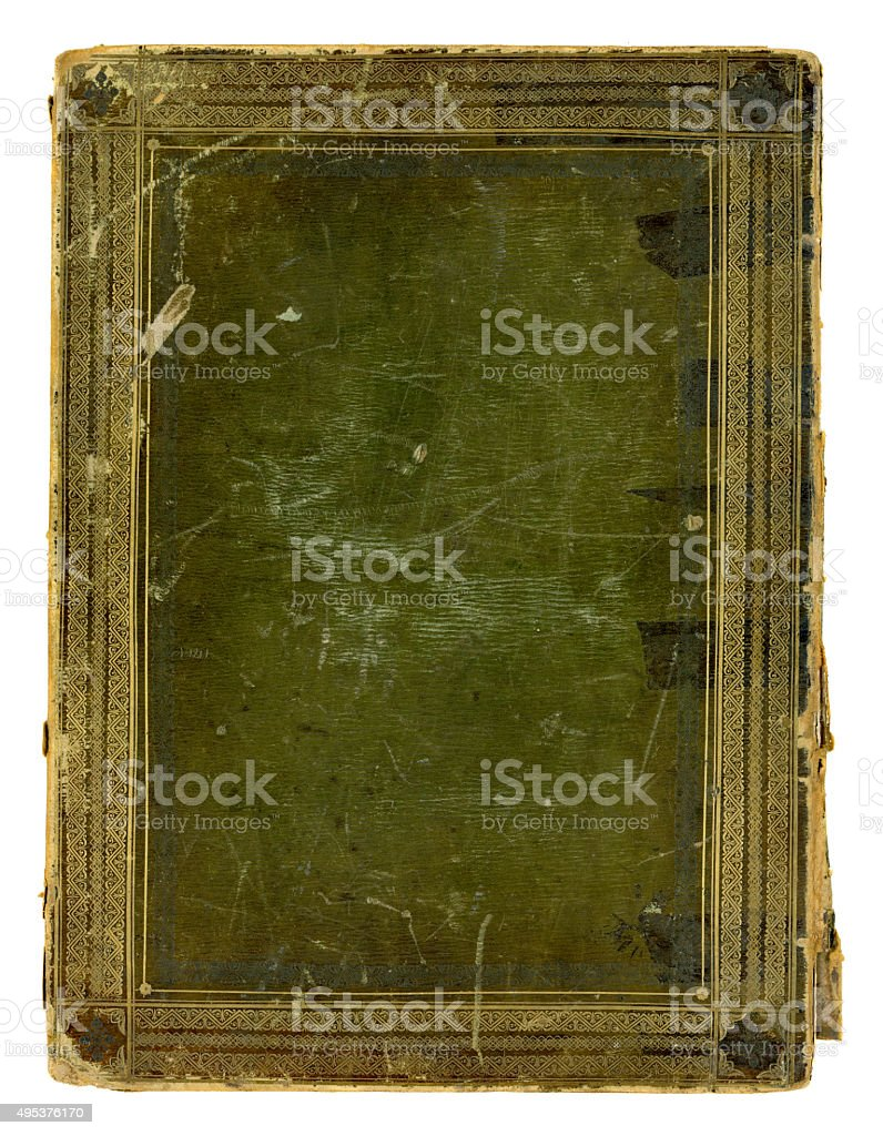 Badly damaged antique book cover stock photo
