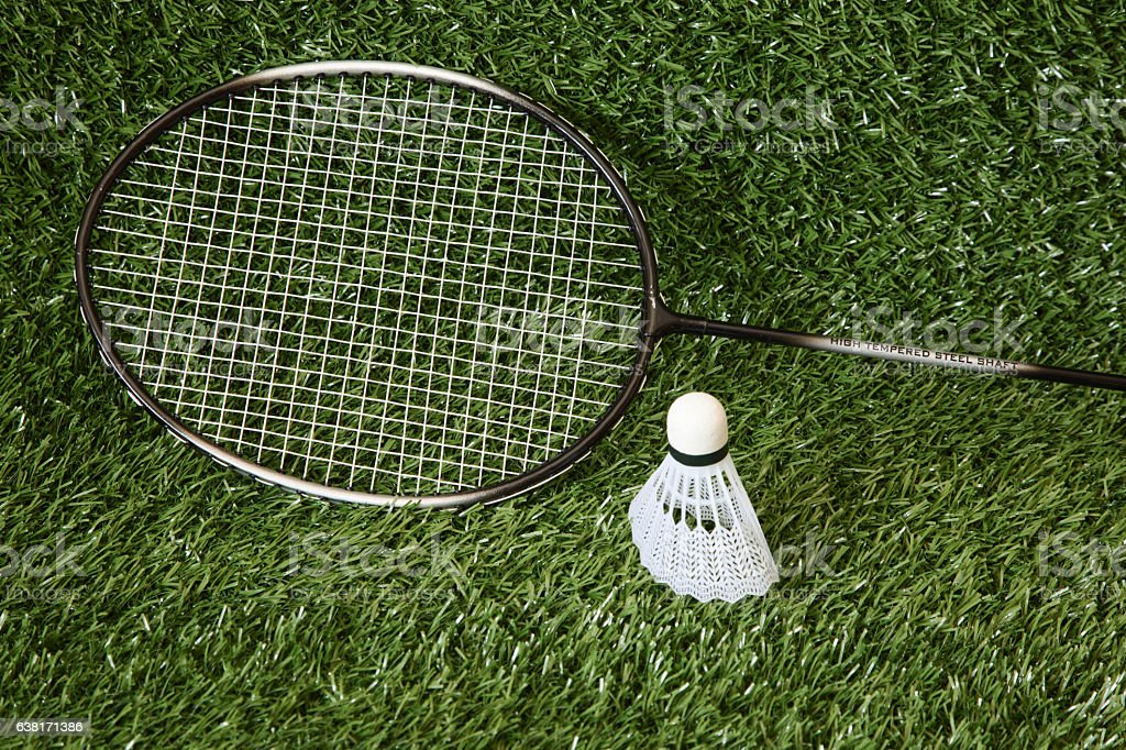 badminton and shuttlecock stock photo