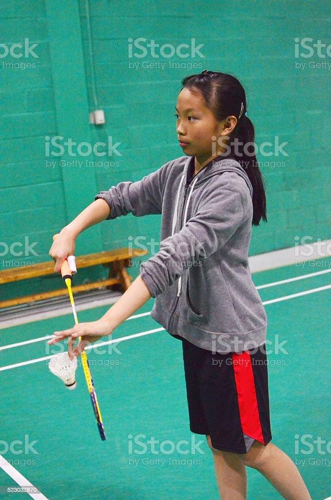Badminton backhand serve stock photo