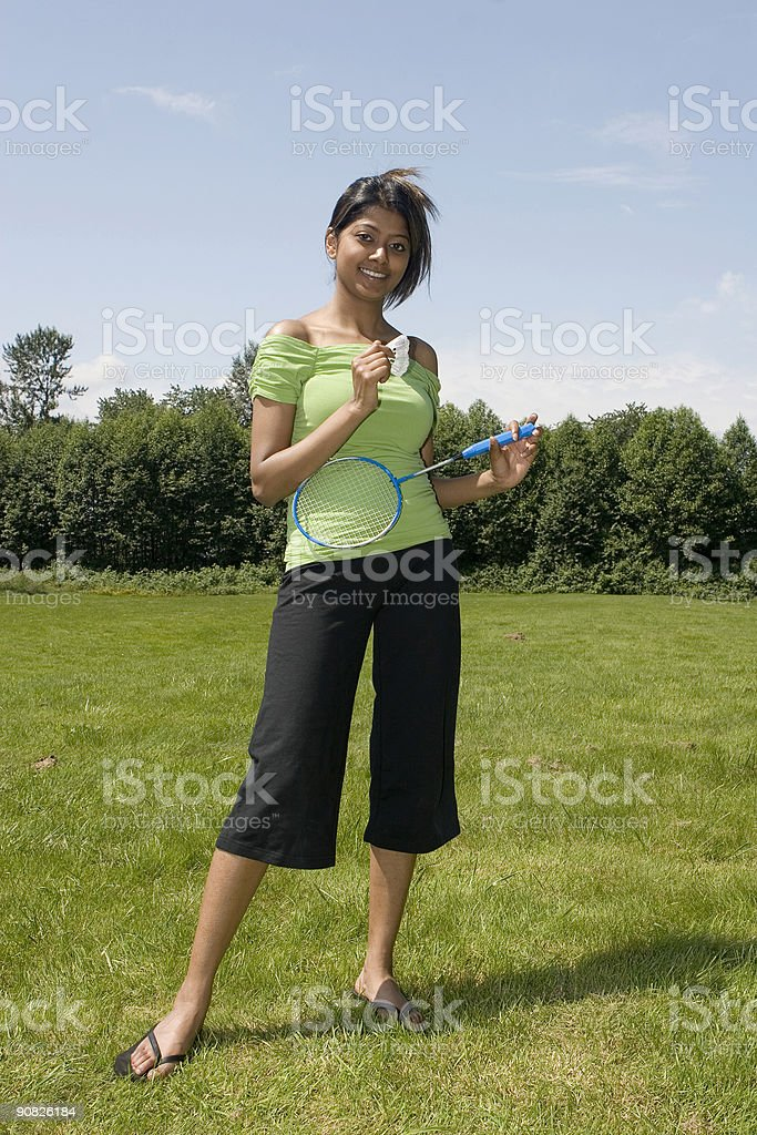 Badminton in the summer stock photo