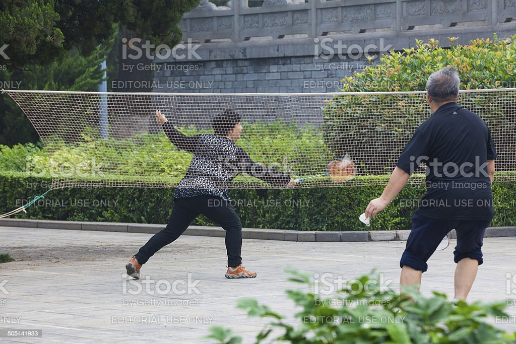 Badminton in Xianqing Park royalty-free stock photo