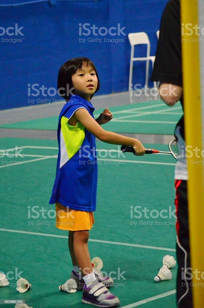 Badminton lesson stock photo