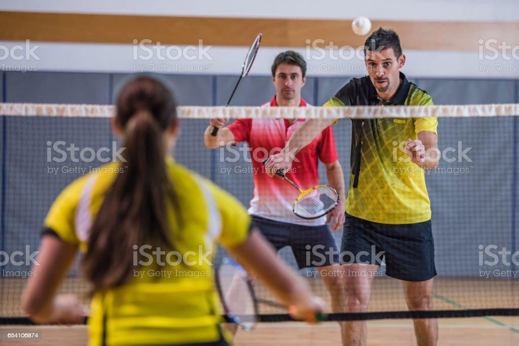 Badminton mixed doubles stock photo