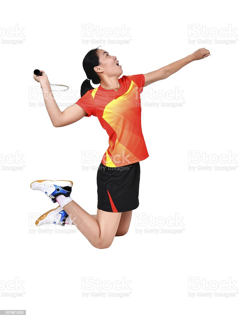 badminton player isolated on white background stock photo