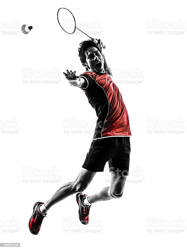 badminton player young man silhouette stock photo