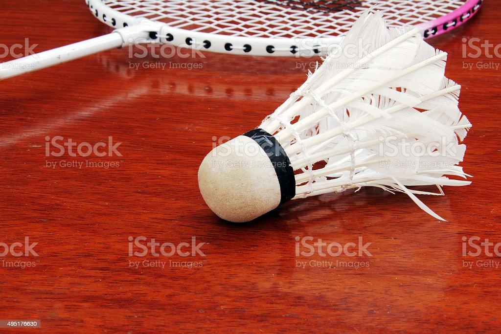 Badminton Racket and Shuttlecock. stock photo
