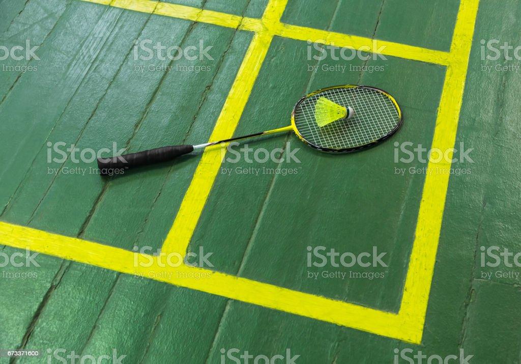Badminton racket and shuttlecock stock photo