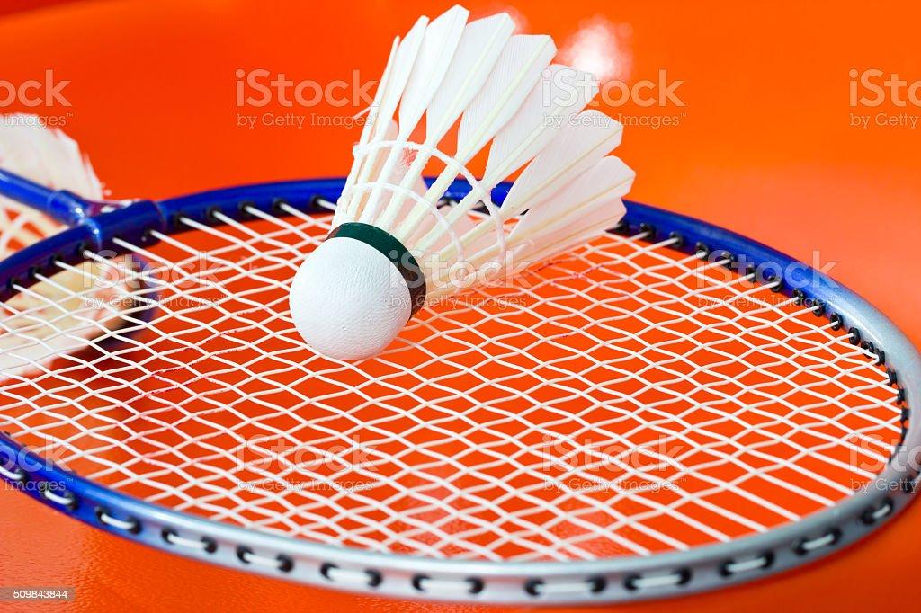 Badminton rackets and shuttlecock stock photo