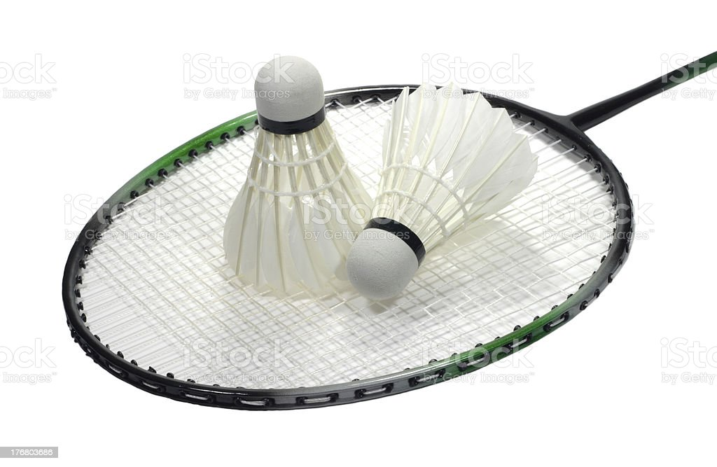 Badminton racquet with shuttlecocks over white royalty-free stock photo