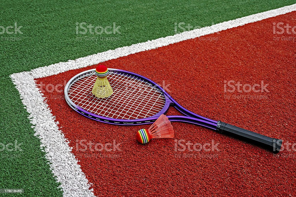 Badminton shuttlecocks & Racket royalty-free stock photo