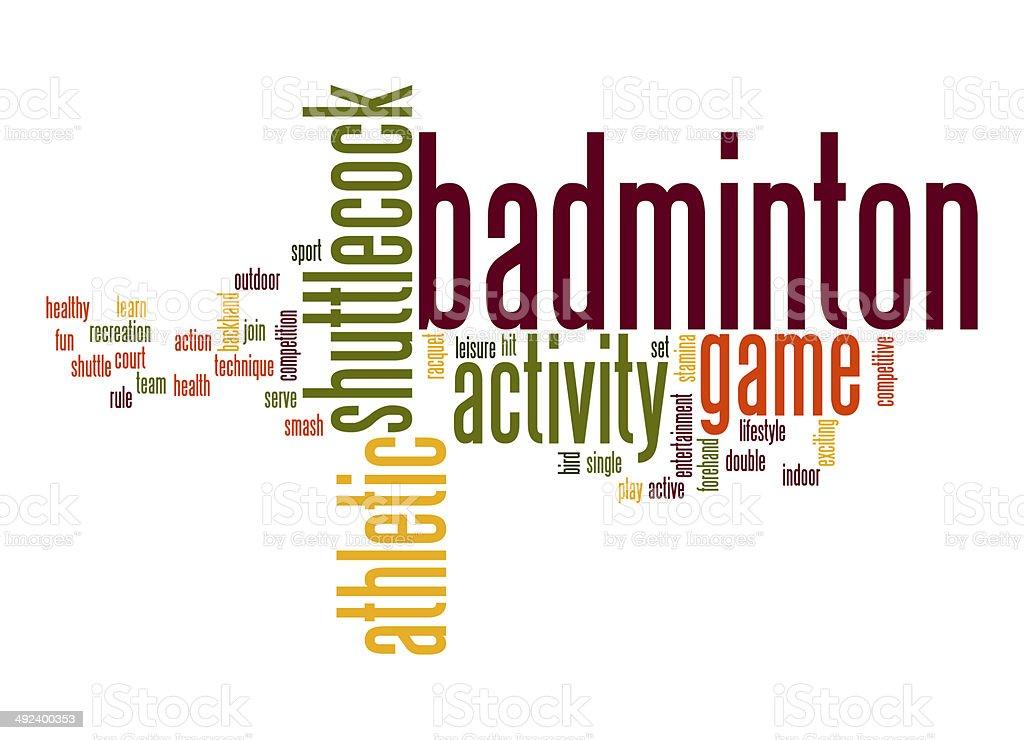 Badminton word cloud stock photo