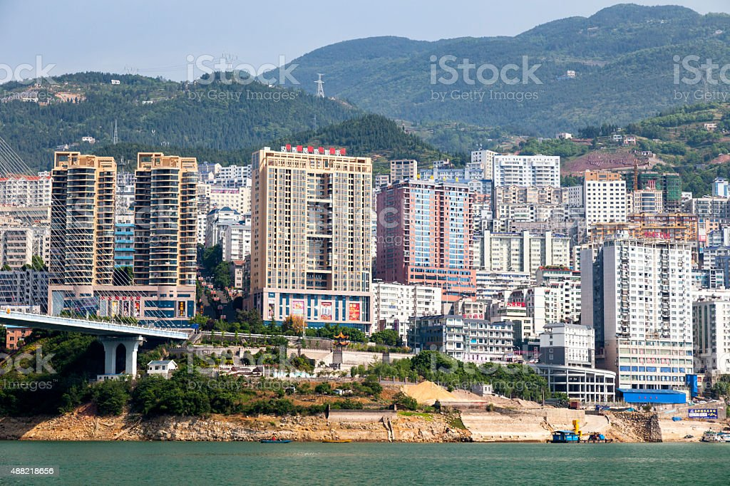 Badong City on Yangtze River, Hubei Province, China stock photo