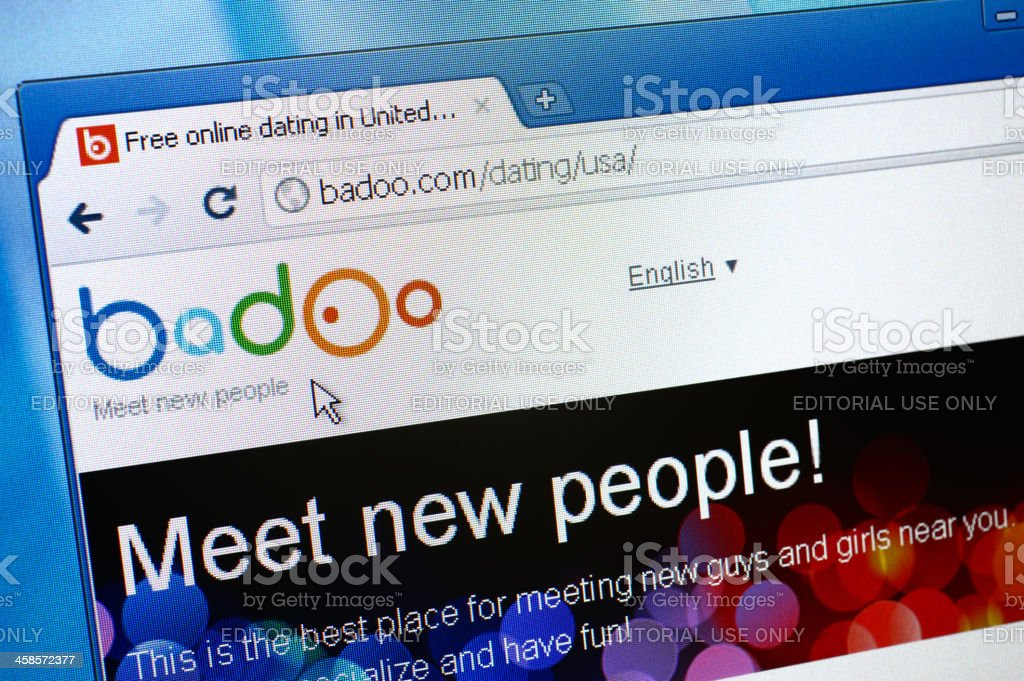 Badoo webpage on the browser stock photo