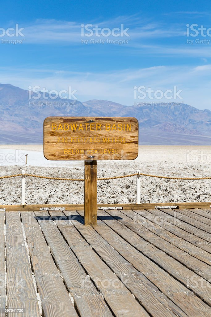 Badwater Basin Sign, Death Valley National Park, California, USA stock photo