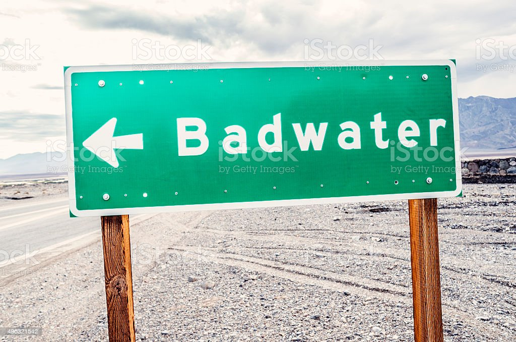 Badwater sign at Death Valley, California stock photo