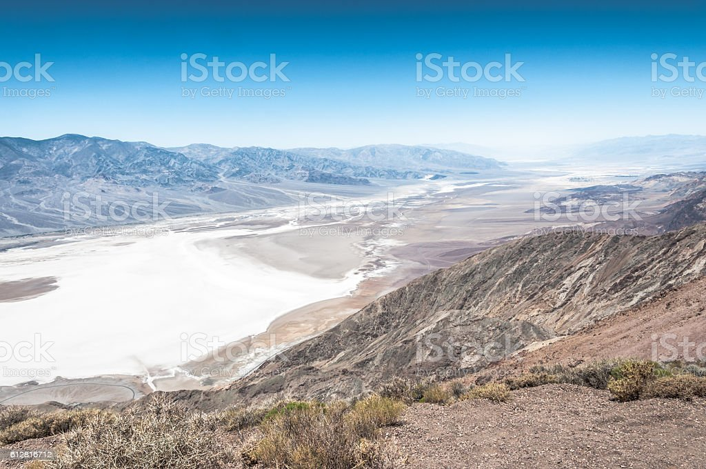 Badwater view from above, Death Valley National Park, California stock photo