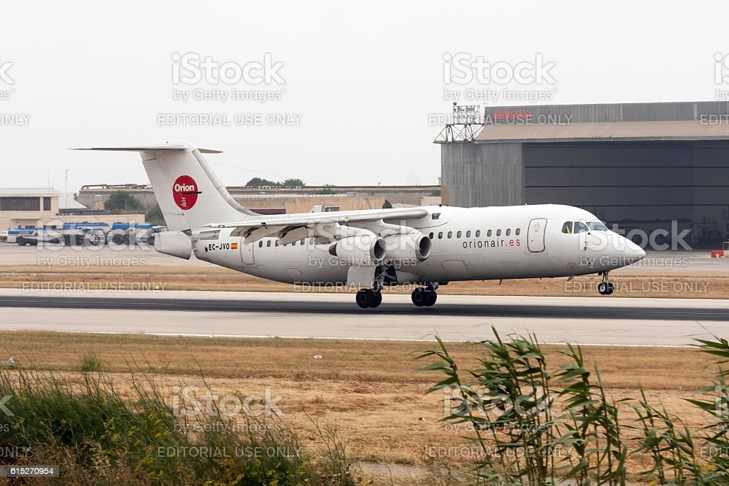 BAe 146 few seconds before touch down stock photo