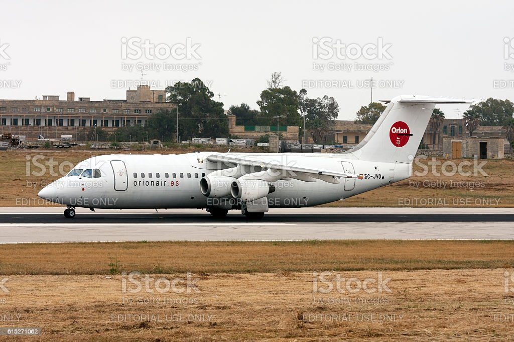 BAe 146 taxiing after landing stock photo