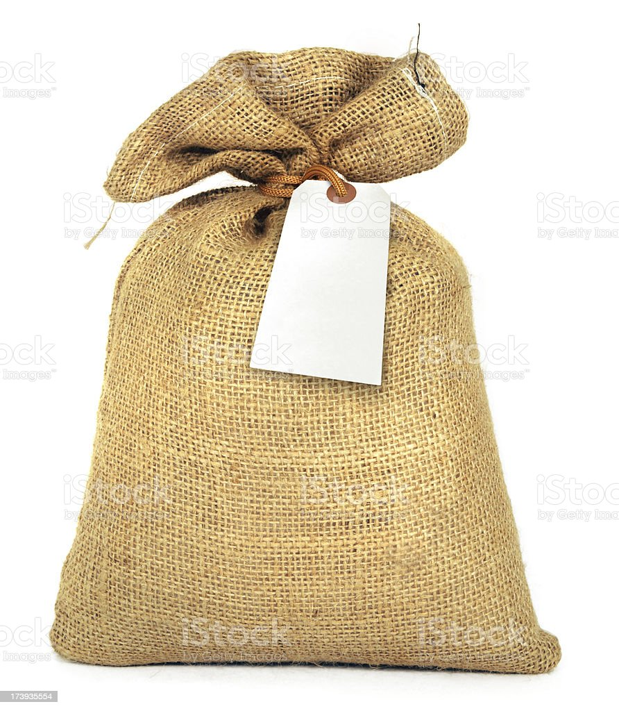 Bag and Label stock photo
