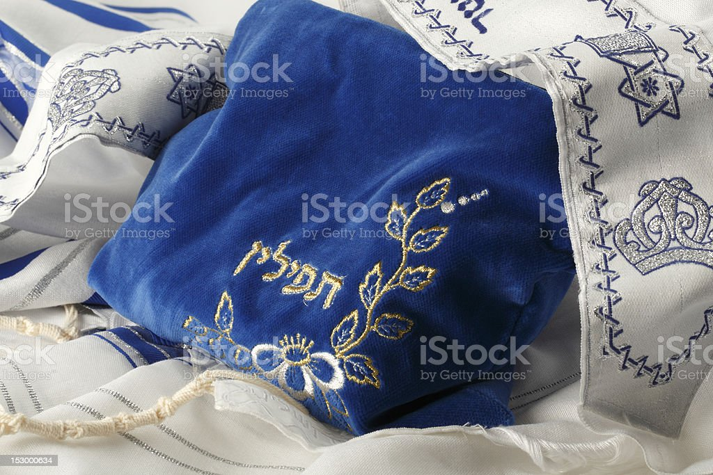 Bag, Containing Philacteries, With Tallit stock photo