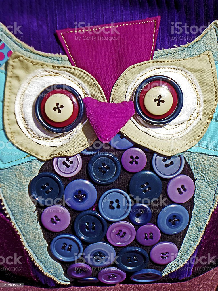 Bag decorated with colorful buttons stock photo