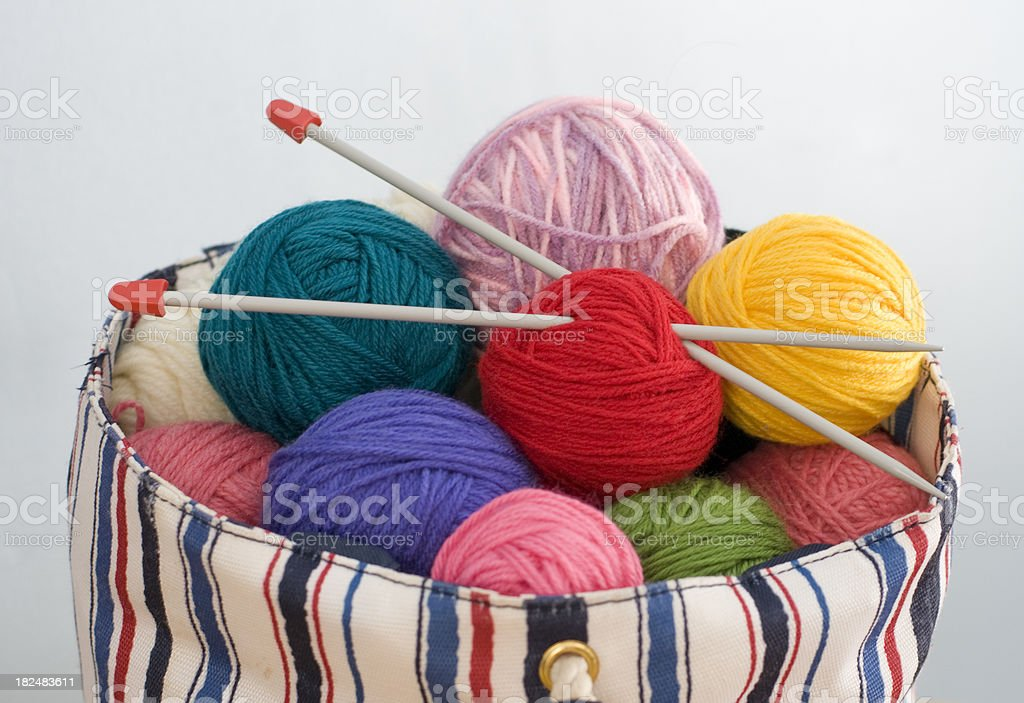 bag filled with yarn and knitting needles stock photo